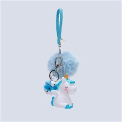 LightBlue Pom Pom Ball Key Chains, with PU Leather Cord, Alloy Lobster Claw Clasp, Resin and Iron Key Ring and Chain, Unicorn and Bell, LightBlue, 240mm