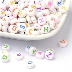 Alphabet Acrylic Beads, Mixed Letters A to Z, Flat Round, 7x4mm, Hole: 1.3mm; about 3500pcs/Bag