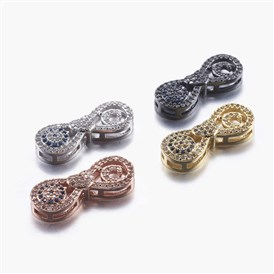 Long-Lasting Plated Brass Micro Pave Cubic Zirconia Pendants, Multi-strand Links, Infinity, Colorful