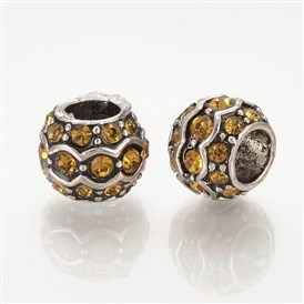 Alloy Rhinestone European Beads, Large Hole Beads, Rondelle, Antique Silver