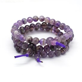 Buddha Style Amethyst Gemstone Beads Stretch Bracelets, 53mm, Beads: 8mm and 10mm