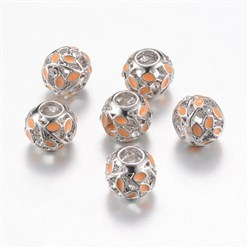 SandyBrown Alloy Enamel European Beads, Rhinestones, Large Hole Beads, Rondelle with Leaf, Silver, SandyBrown, 11x9~9.5mm, Hole: 4mm