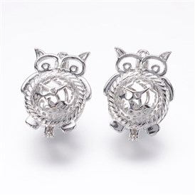 Rack Plating Brass Locket Pendants, Cage Pendants, Owl