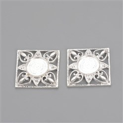 Silver Tibetan Style Alloy Cabochon Settings, Square, Silver, Tray: 12mm; Fit for 2mm Rhinestone; 26x26x4mm