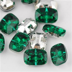 DarkGreen Taiwan Acrylic Rhinestone Buttons, Faceted, 1-Hole, Rectangle, DarkGreen, 30x21x10.5mm, Hole: 2mm