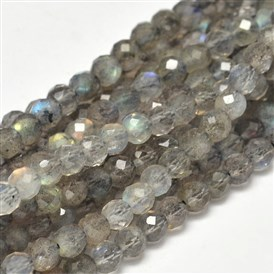 Faceted Round Natural Labradorite Bead Strands, 4mm, Hole: 1mm; about 98pcs/strand, 15.5