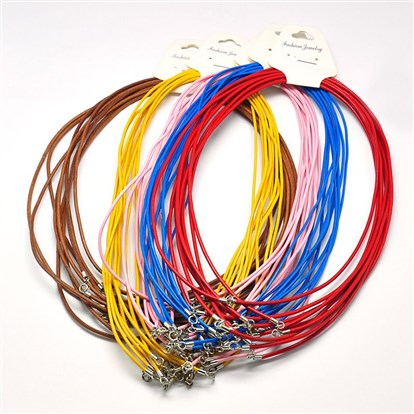 "Leather Cords, for Necklace Making, with Sterling Silver Findings and Spring Ring Clasps, 17.32""-1"