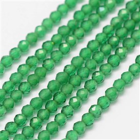 Synthetic Gemstone Beads Strands, Imitation Emerald, Faceted, Round