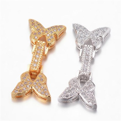 Brass Micro Pave Cubic Zirconia Watch Band Clasps, Butterfly-1