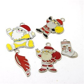 Alloy Enamel Pendants, for Christmas Day, Mixed Shapes, 22~50x11.5~36x1.5~2mm, Hole: 2~4mm