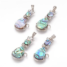 Paua/Abalone Shell Pendants, with Brass Rhinestone Findings, Cat, Platinum