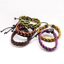 Trendy Unisex Casual Style Braided Waxed Cord and Leather Bracelets, 58mm
