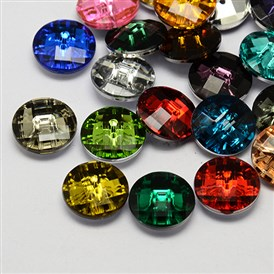 Taiwan Acrylic Rhinestone Buttons, Faceted, 2-Hole, Disc