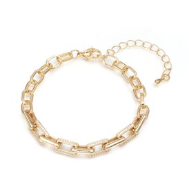 Brass Cable Chains Bracelets, with Clear Cubic Zirconia and Lobster Claw Clasps, Textured, Long-Lasting Plated