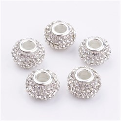 Crystal Grade A Rhinestone European Beads, Large Hole Beads, Resin, with Silver Color Brass Core, Rondelle, Crystal, 12x8mm, Hole: 4mm