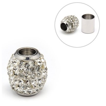 304 Stainless Steel Magnetic Clasps, with Polymer Clay Rhinestone Beads, Oval, 14x16mm, Hole: 6mm-1