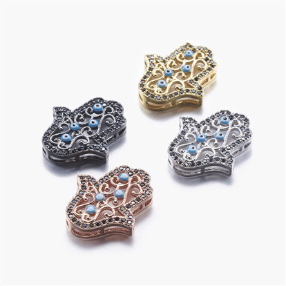 Long-Lasting Plated Brass Micro Pave Cubic Zirconia Pendants, Multi-strand Links, Hamsa Hand/Hand of Fatima/Hand of Miriam with Eye