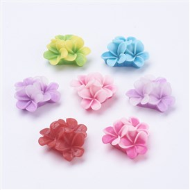 Flatback Resin Flower Cabochons, 21x21x10mm