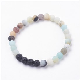 Forsted Natural Amazonite Stretch Bracelets, with Natural Lava Beads