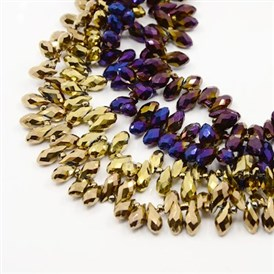 Electroplate Glass Beads Strands, Faceted, Drop