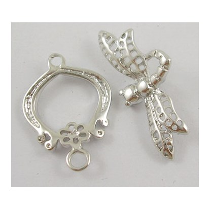 Brass Bar & Ring Toggle Clasps,  Nickel Free, Dragonfly, Toggle: 23.5x10mm, Tbar: 22x15mm, Hole: 1.8mm-1