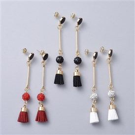 Stud Earrings, with Brass Findings, Alloy Enamel Findings, Polymer Clay Rhinestone Beads and Suede Cord Tassel Pendants