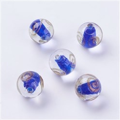 Blue Handmade Gold Sand Lampwork Beads, Round, Blue, 11.5~12mm, Hole: 1.5mm