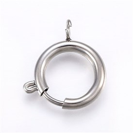 304 Stainless Steel Smooth Surface Spring Ring Clasps