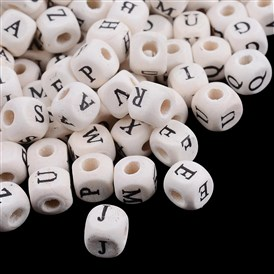 Wood Beads, Cube with Alphabet, Ivory