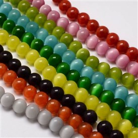 Cat Eye Beads Strands, Round, 14mm, Hole: 1.5mm; about 28pcs/strand, 15.5 inches