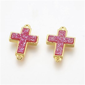 Electroplate Druzy Resin Links, with Golden Tone Brass Findings, Cross