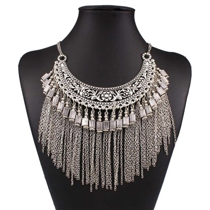 "Alloy Bib Necklaces, Fringe Chain Necklaces, with Chain Tassels and Lobster Claw Clasps, 15.75""-1"