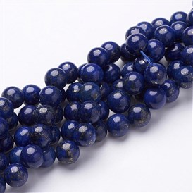 Dyed Grade A Natural Lapis Lazuli Beads Strands, Round, 8mm, Hole: 1mm; about 50pcs/strand, 16""