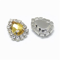 Topaz Sew on Rhinestone, Glass Rhinestone, with Platinum Tone Brass Prong Settings, Garments Accessories, Drop, Topaz, 14.5x11x5mm, Hole: 0.8mm