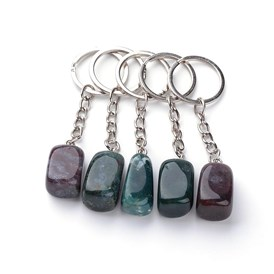 Natural Gemstone Keychain, with Iron Findings, Platinum