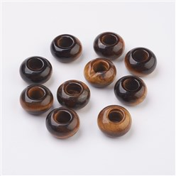 Tiger Eye Natural & Synthetic Gemstone European Beads, Large Hole Beads, Rondelle, 14x8mm, Hole: 5mm