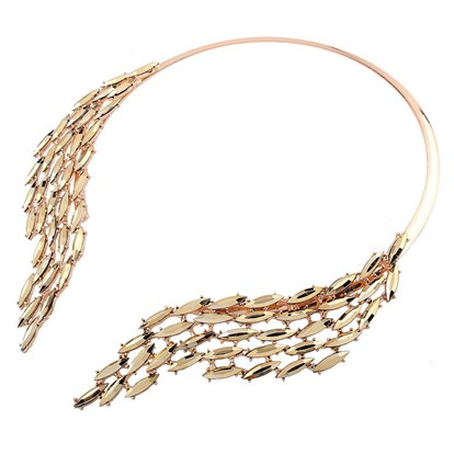Alloy Choker Necklaces, with Rhinestone, Wing-1
