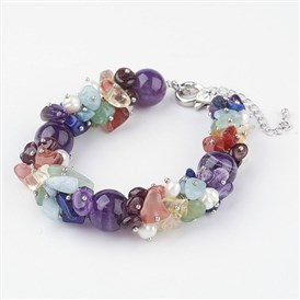 Gemstone Beaded Chakra Bracelets, with Lobster Claw Clasps, Platinum