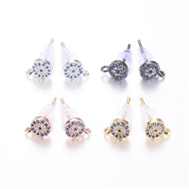 Brass Micro Pave Cubic Zirconia Stud Earring Findings, Lead Free & Cadmium Free, Flat Round
