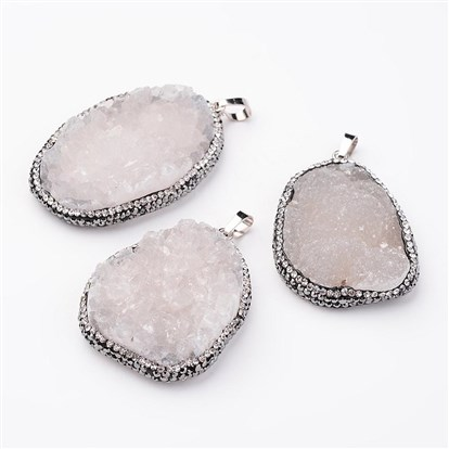 Natural Druzy Agate Pendants, with Rhinestone, Platinum Plated Brass Findings, Nuggets-1