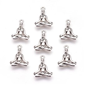 Tibetan Style Alloy Pendants, Lead Free & Cadmium Free, Yoga, 20x16x3.5mm, Hole: 2mm; about 550pcs/1000g