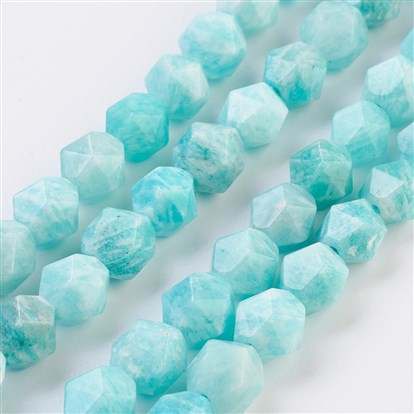 Natural Amazonite Beads Strands, Star Cut Round Beads, Faceted