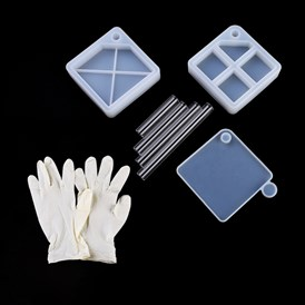 DIY Layered Rotating Storage Box Silicone Mold Sets, Resin Casting Molds, with Disposable Rubber Gloves & Plastic Sticks