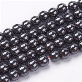 Non-Magnetic Synthetic Hematite Beads Strands, Round