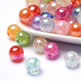 Bubblegum AB Color Transparent Crackle Acrylic Round Beads