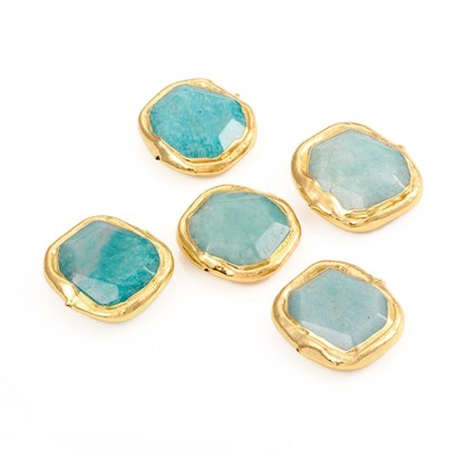 Natural Amazonite Beads, with Golden Plated Edge Brass Findings, Faceted, Oval