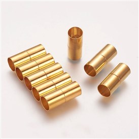 Brass Magnetic Clasps, Column, 10x25mm, Hole: 9mm