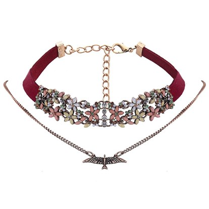Wool Cord Choker Necklaces, with Alloy and Rhinestone, Flower-1
