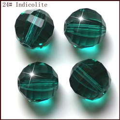 DarkCyan Imitation Austrian Crystal Beads, Grade AAA, Faceted, Round, DarkCyan, 10mm, Hole: 0.9~1mm