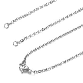 201 Stainless Steel Cable Chain Necklace Making, with Lobster Claw Clasps